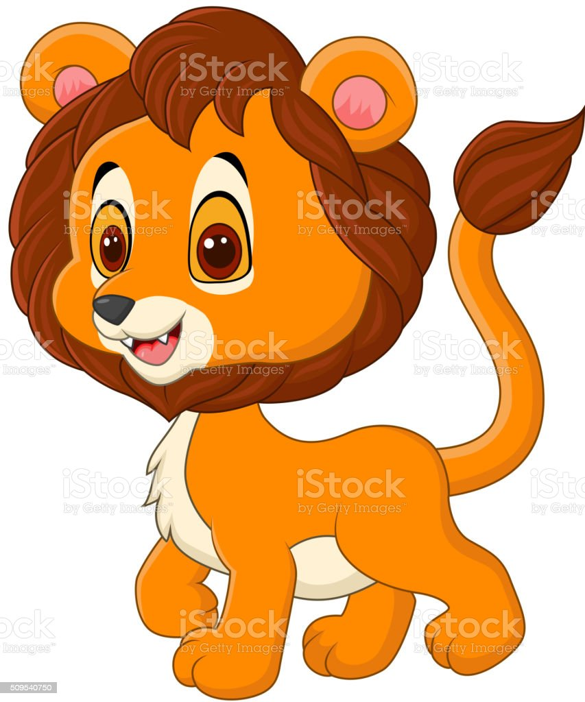Cute baby lion walking isolated on white background vector art illustration