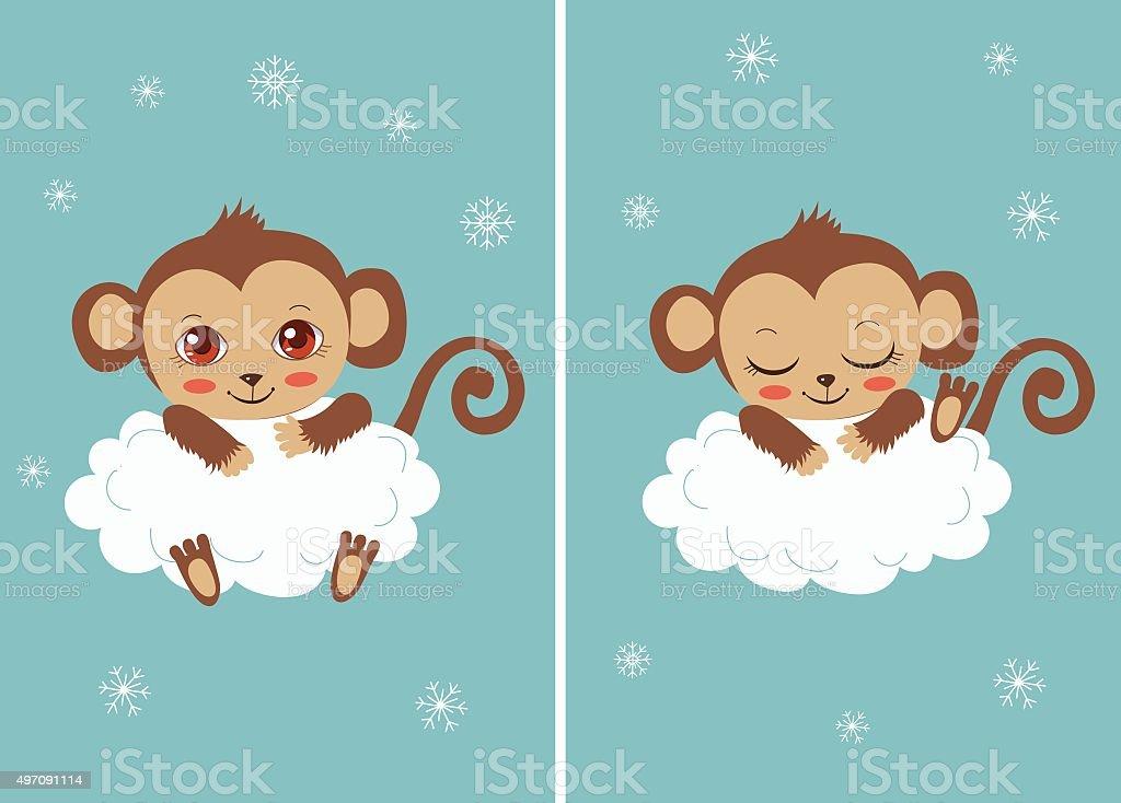 Cute baby monkey on a cloud sleeping vector art illustration