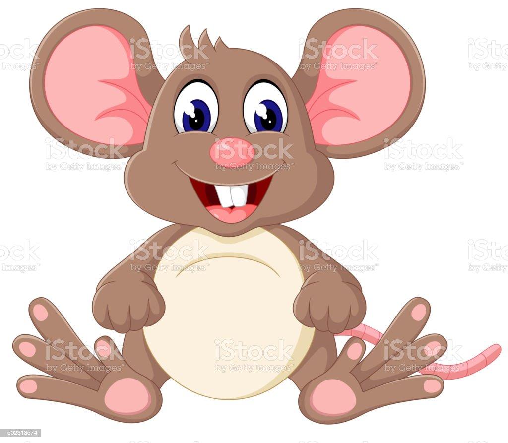 Cute baby mouse cartoon vector art illustration