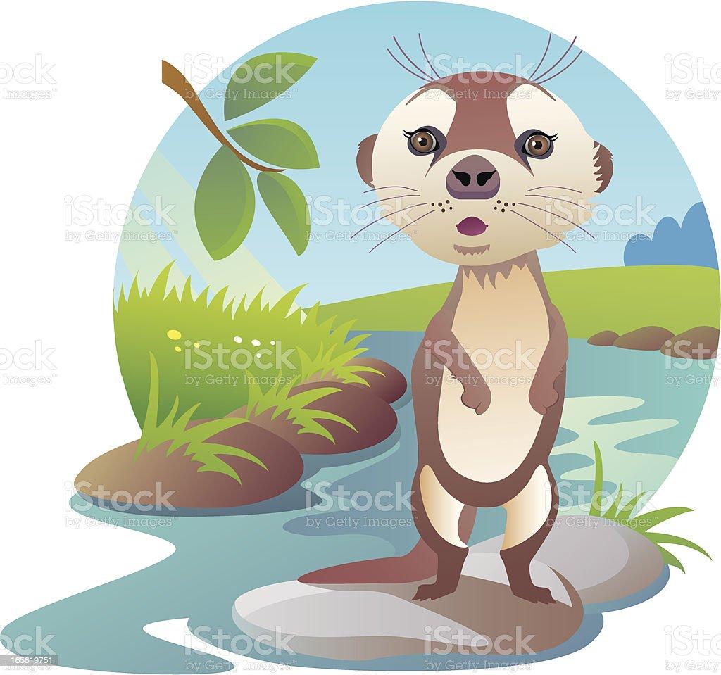 Cute Baby Otter Standing On Back Legs On River Rock vector art illustration