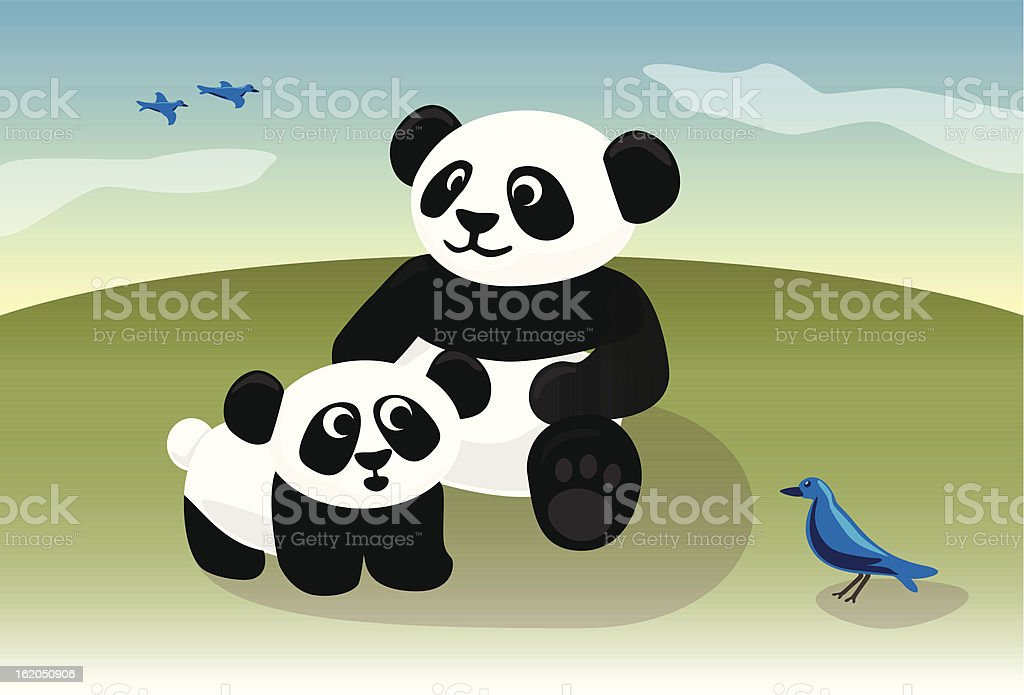Cute baby panda and mom playing with bird royalty-free stock vector art
