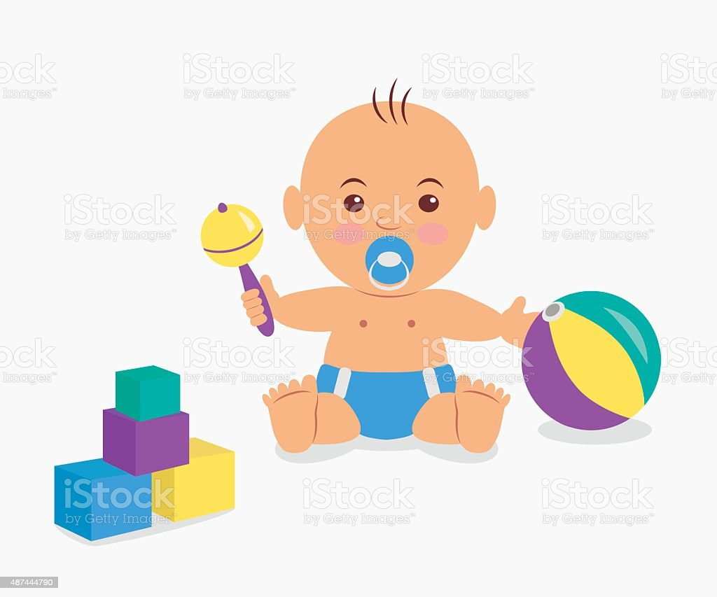 Cute baby  playing with a rattle and cubes. vector art illustration