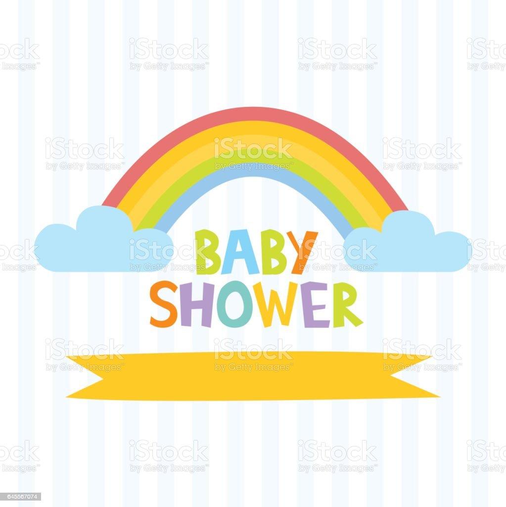 Cute baby shower invitation template vector art illustration
