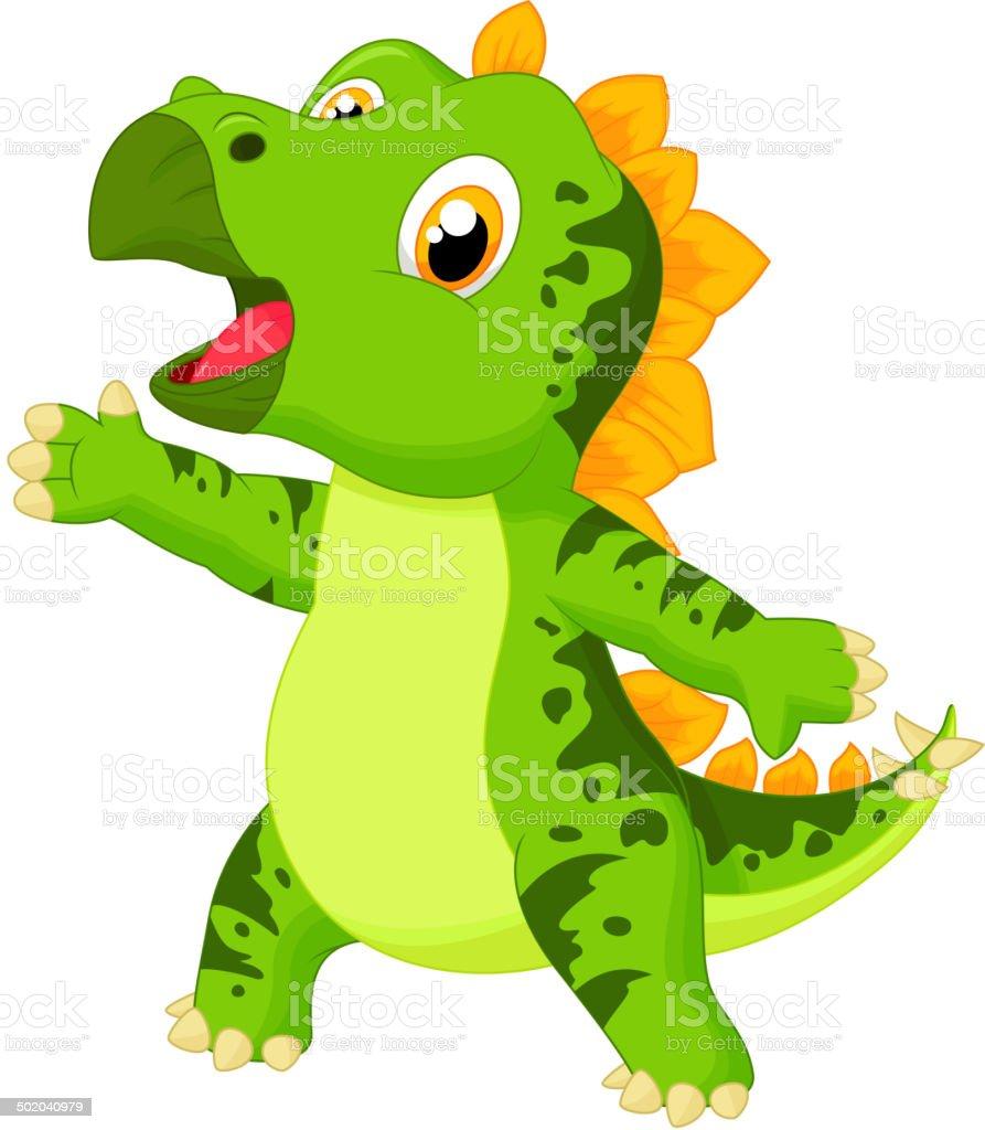 Cute baby stegosaurus cartoon royalty-free stock vector art