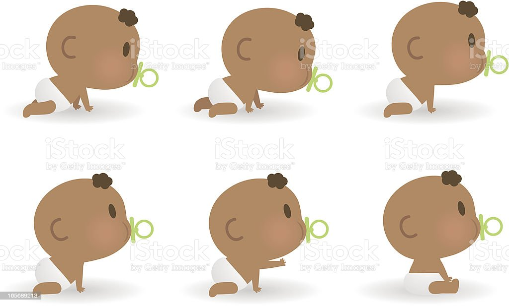 Cute Baby Sucking On Pacifier, Crawling And Sitting vector art illustration