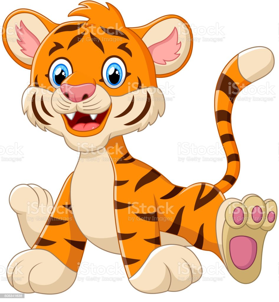 Cute baby tiger cartoon vector art illustration
