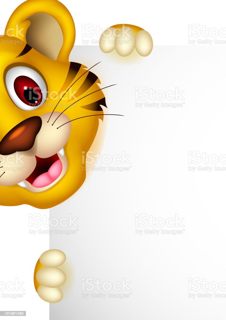 cute baby tiger posing with sign royalty-free stock vector art