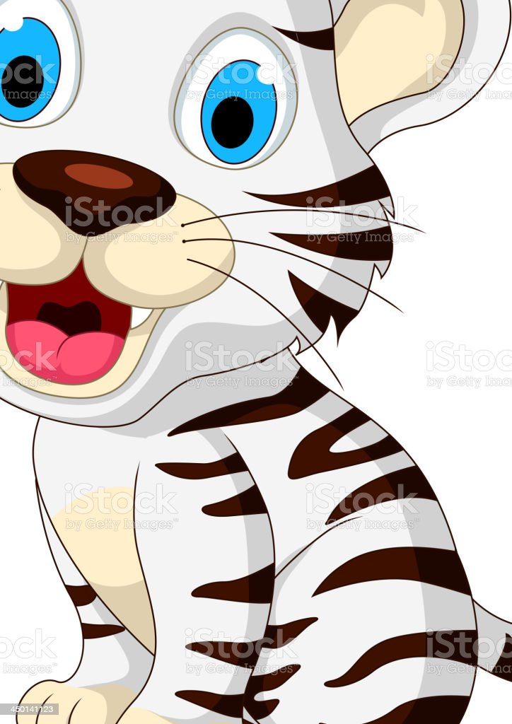 cute baby tiger sitting royalty-free stock vector art