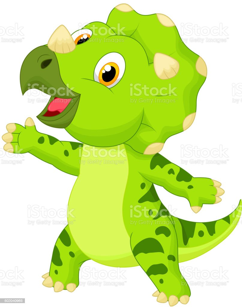 Cute baby triceratops cartoon royalty-free stock vector art