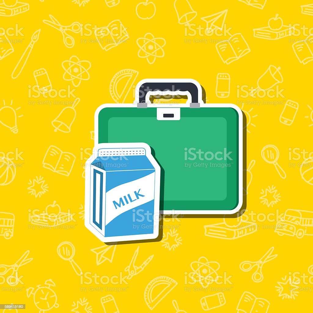 Cute Back To School Sticker Icon With pattern Background vector art illustration
