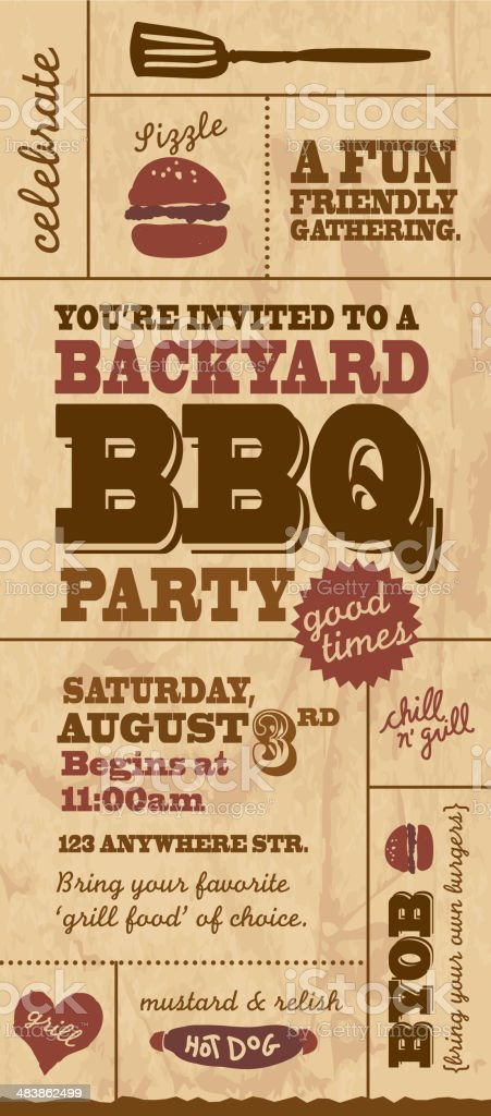 Cute Backyard BBQ themed  invitation template on paper background royalty-free stock vector art