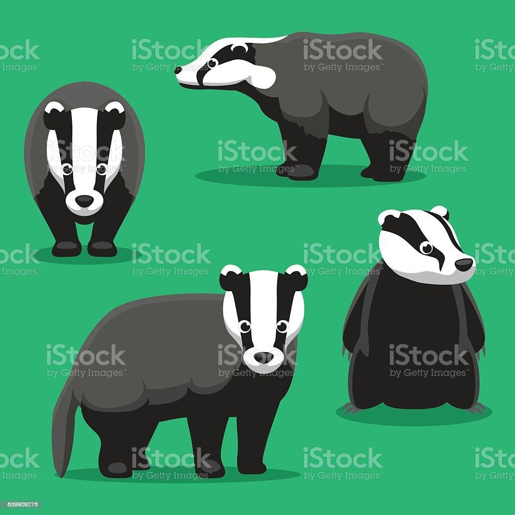 Cute Badger Cartoon Poses Vector Illustration vector art illustration