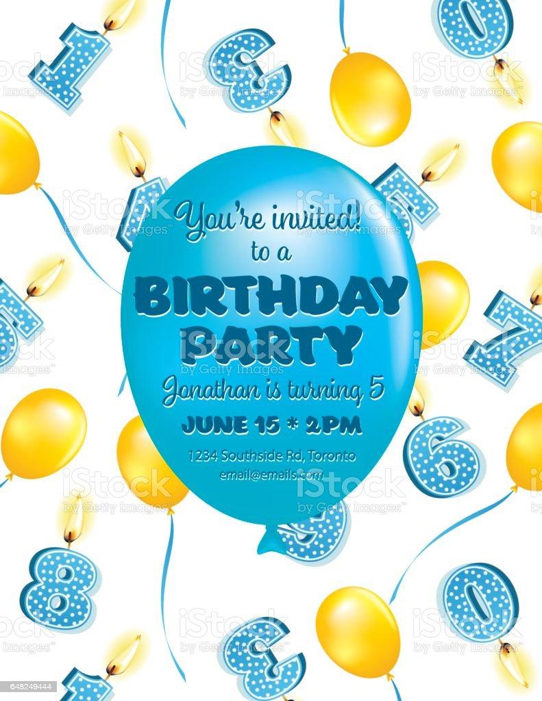 Cute Balloons Birthday Card vector art illustration