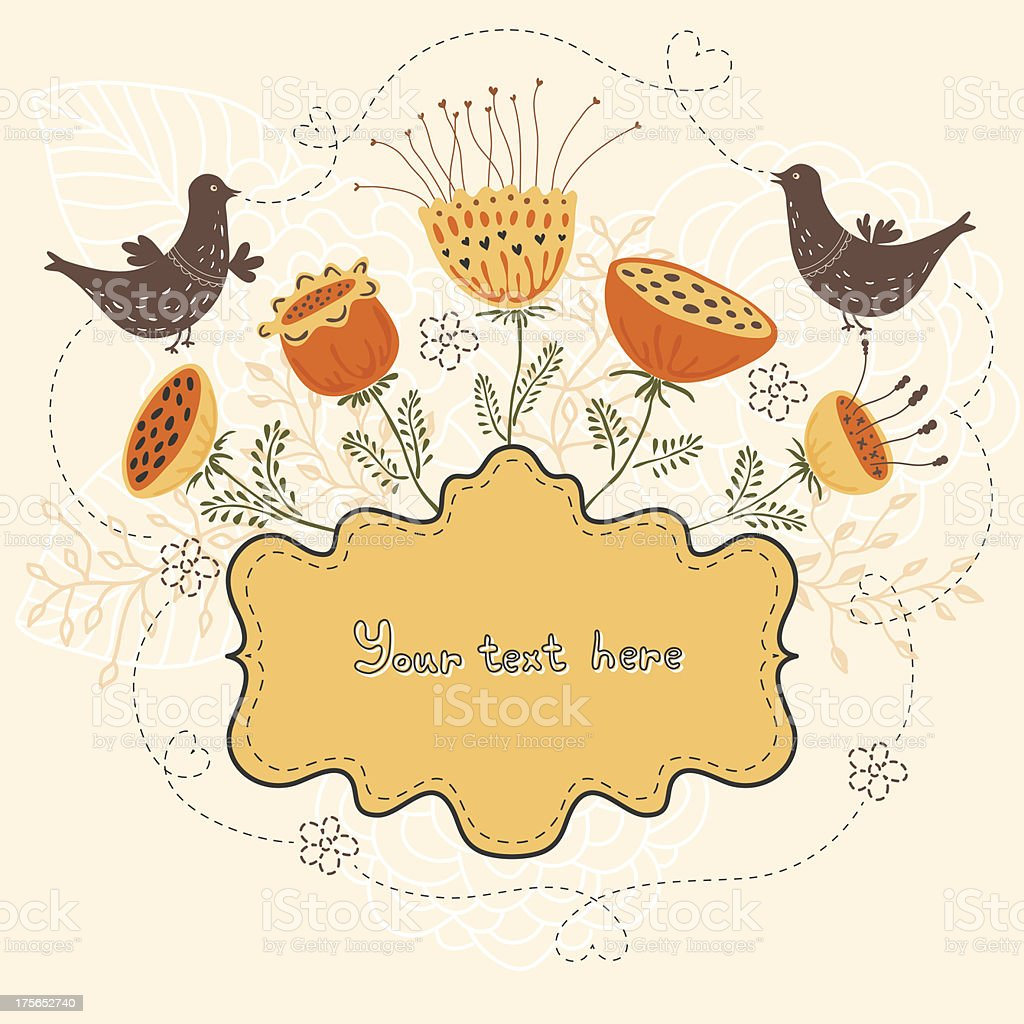 Cute banner with flowers and birds. royalty-free stock vector art