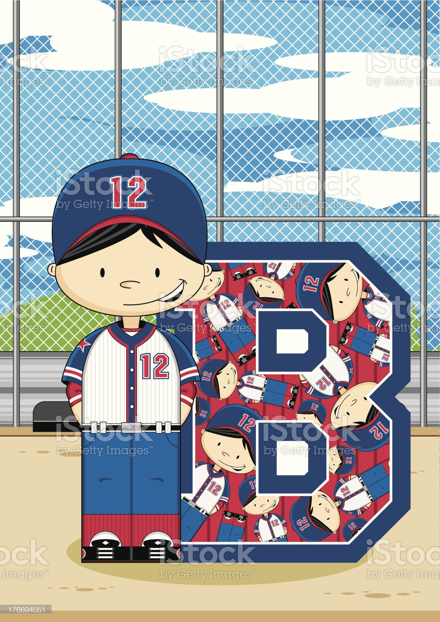 Cute Baseball Boy Learning Letter B royalty-free stock vector art