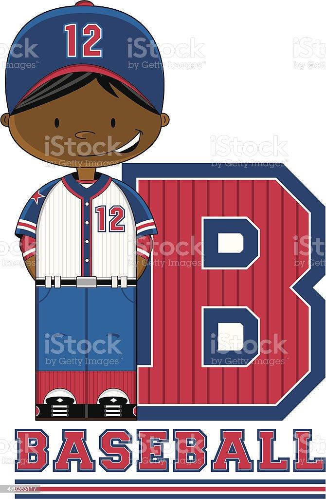 Cute Baseball Boy Learning Letter B royalty-free stock vector art