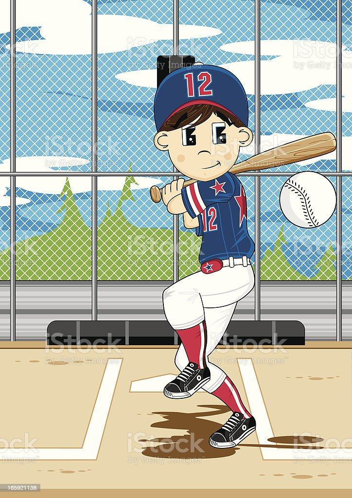 Cute Baseball Boy Scene vector art illustration