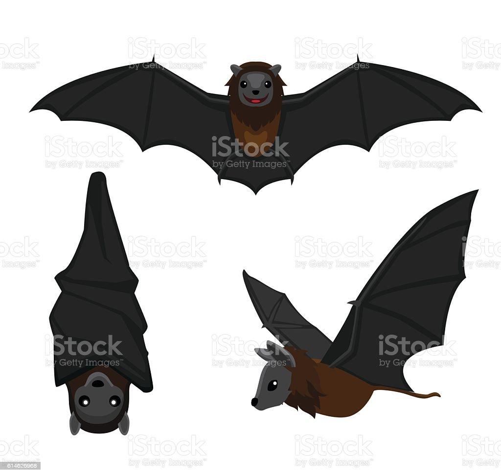 Cute Bat Poses Cartoon Vector Illustration vector art illustration