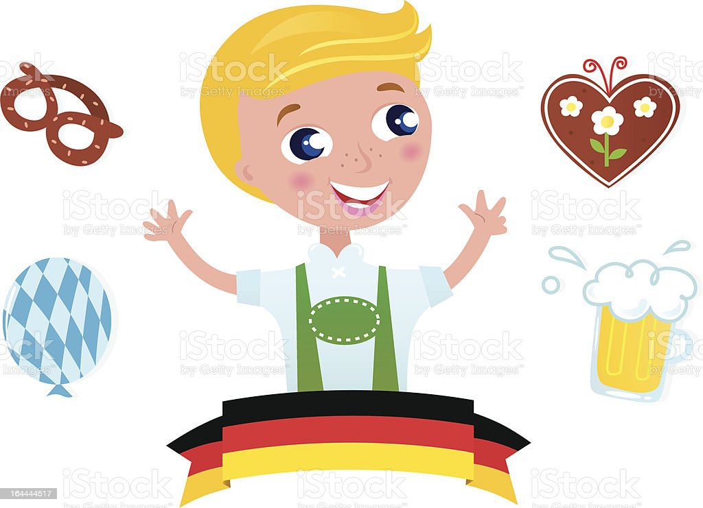 Cute bavarian Octoberfest male & icons isolated on white background royalty-free stock vector art