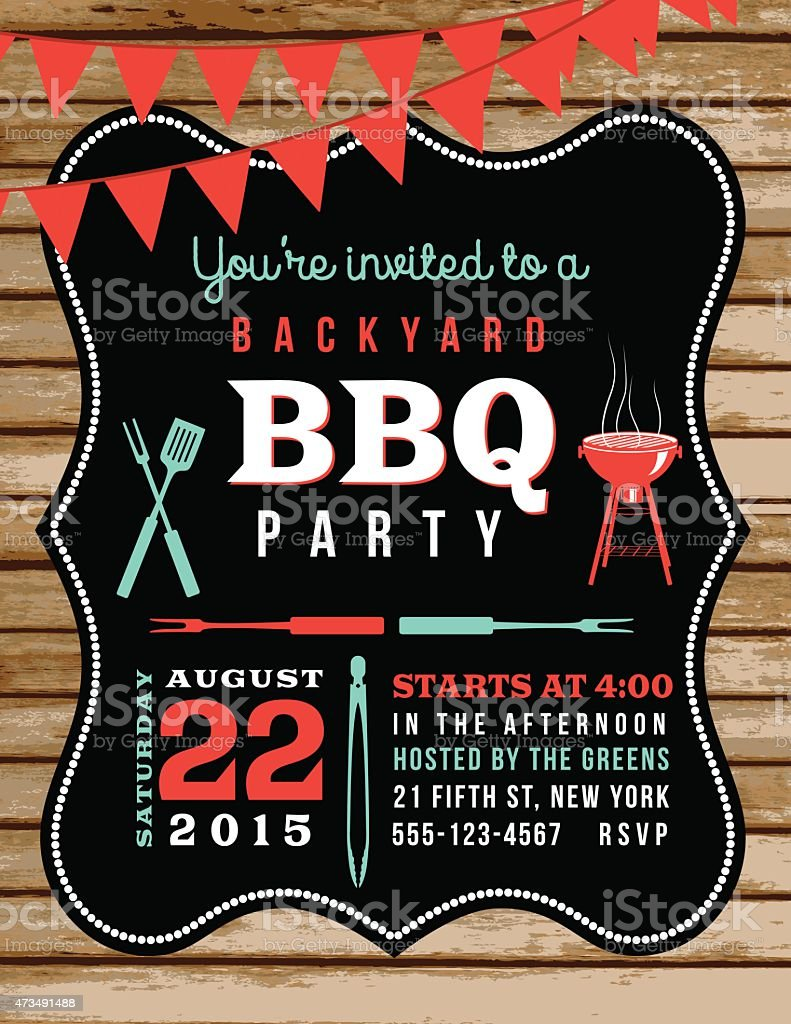Cute BBQ Invitation Template With Wood Background And Bunting Flags vector art illustration
