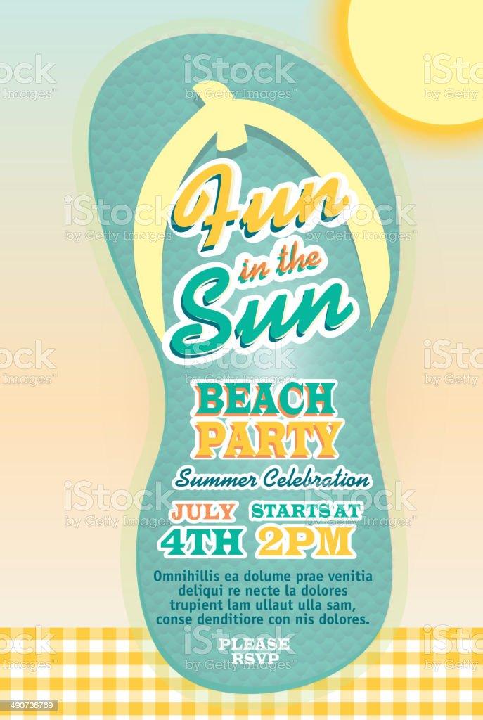 Süße Beach Party Oder Flip Flop Sandale Design VORLAGE DER EINLADUNG  Lizenzfreies Vektor Illustration