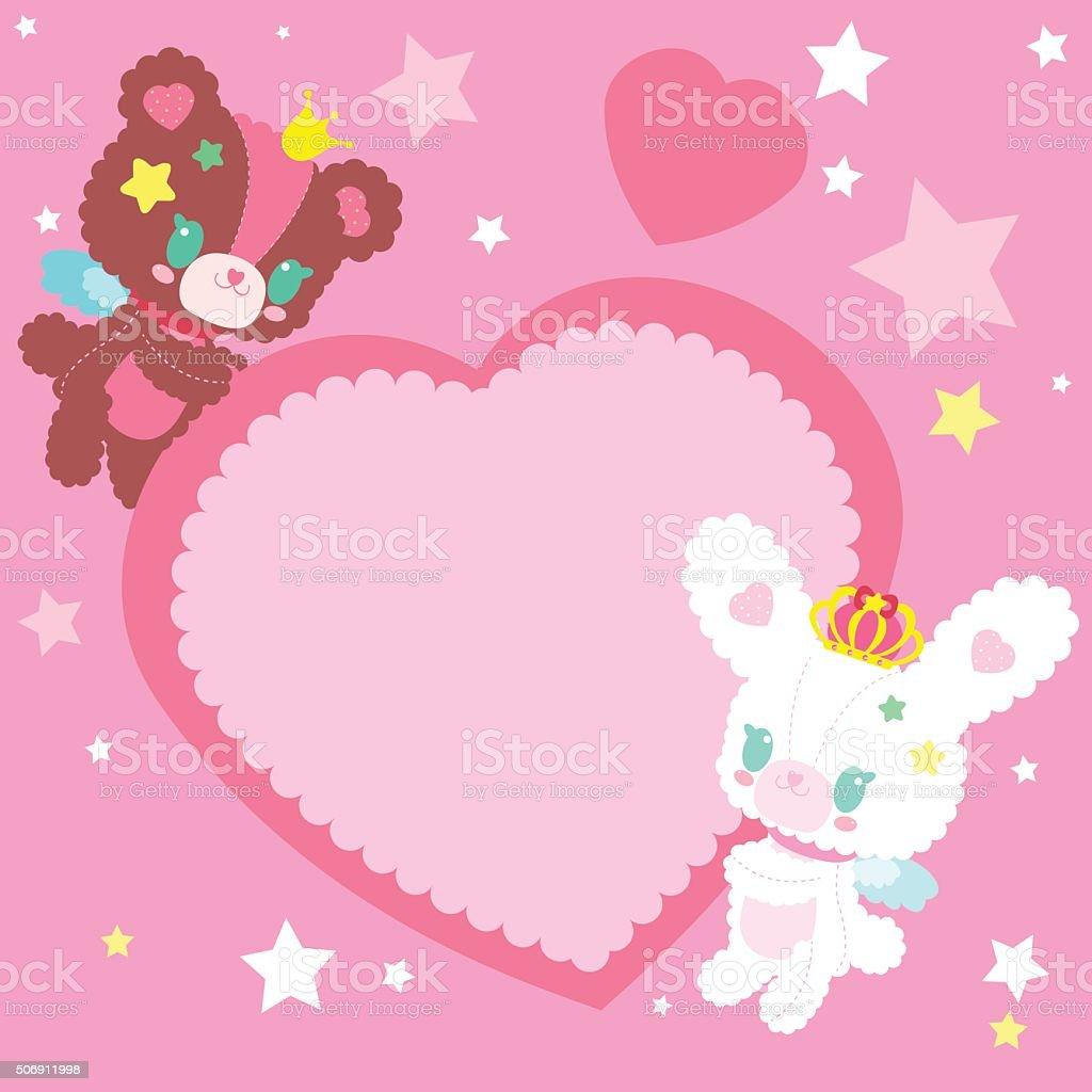 Cute bear and bunny holding a heart vector art illustration