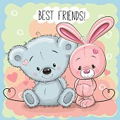 Cute Bear and rabbit