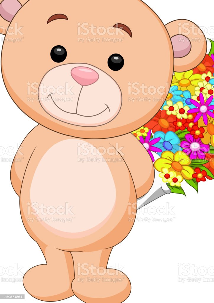 Cute bear cartoon holding flower bucket vector art illustration