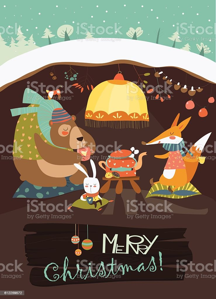 Cute bear with rabbit and fox celebrating Christmas in his vector art illustration