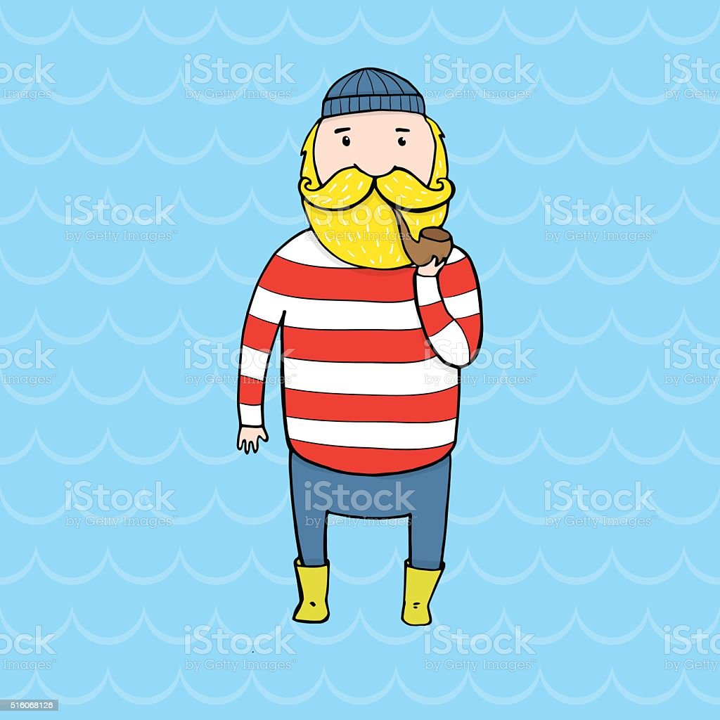 Cute bearded sailor with a pipe. vector art illustration
