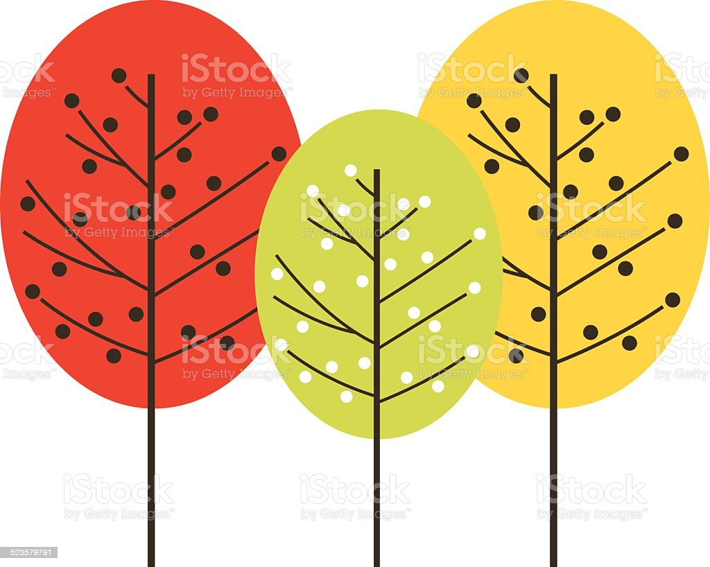 Cute beautiful colorful trees isolated on white vector art illustration