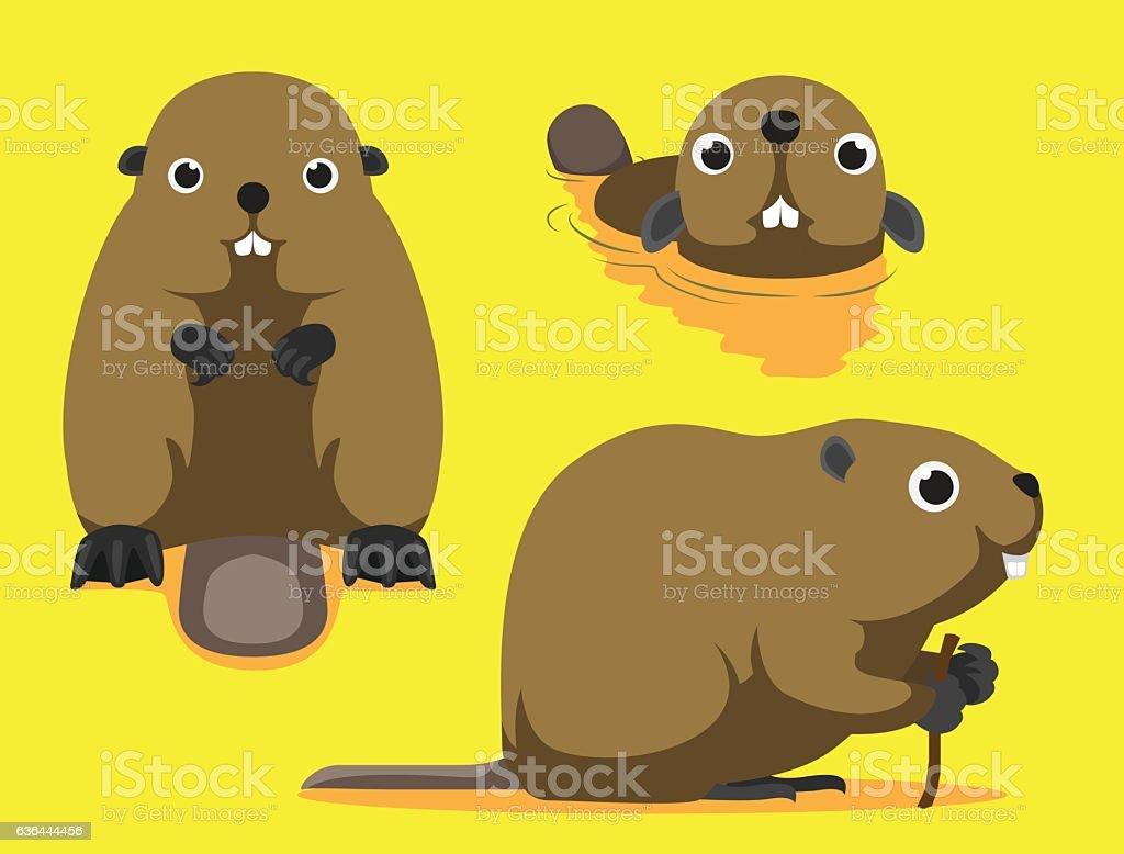 Cute Beaver Cartoon Vector Illustration vector art illustration