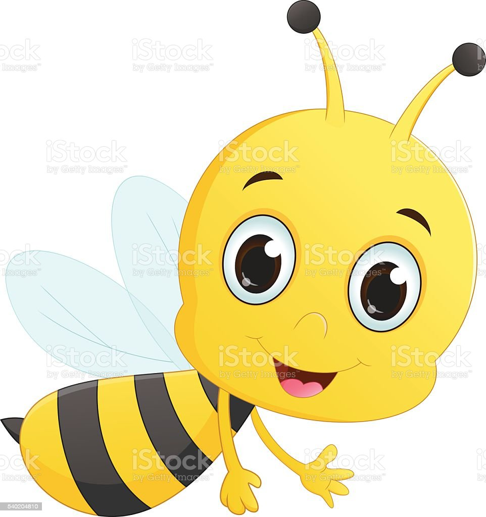 cute bee cartoon flying vector art illustration