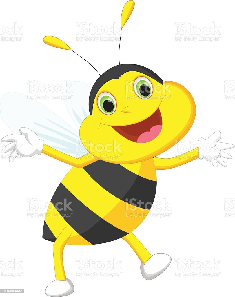 cute bee cartoon vector art illustration