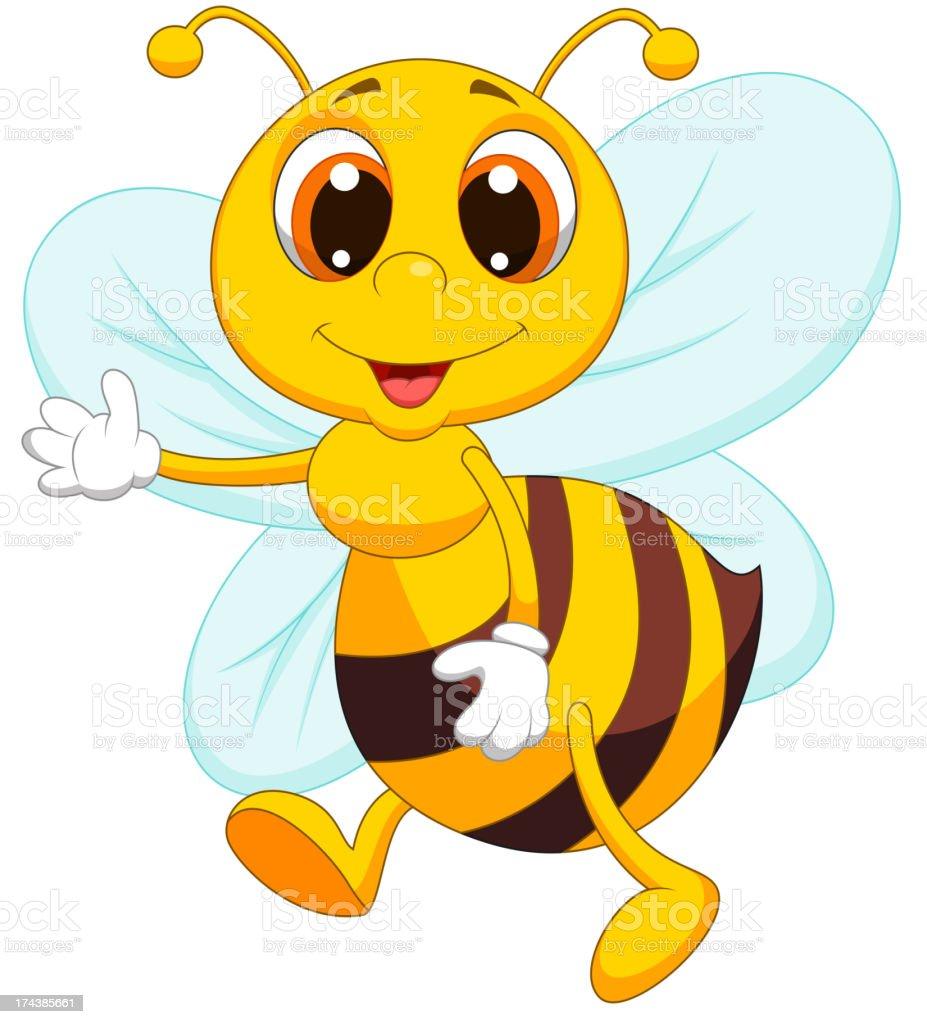 Cute bee cartoon waving royalty-free stock vector art