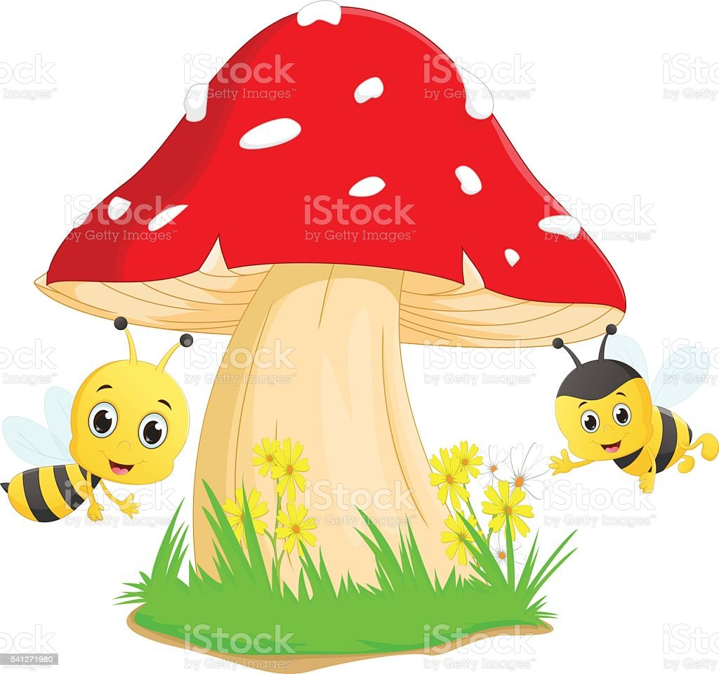 cute bee cartoon with red mushroom vector art illustration