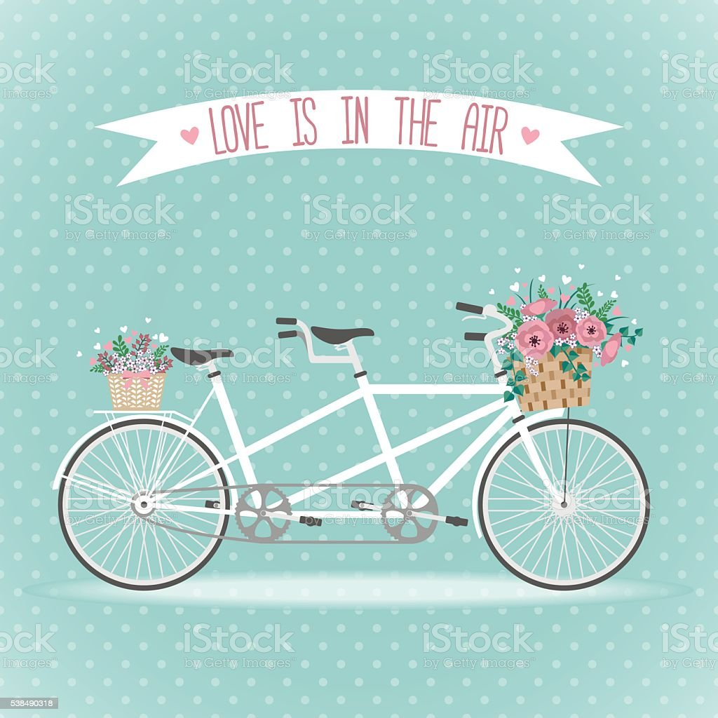 Cute bicycle with basket full of flowers vector art illustration