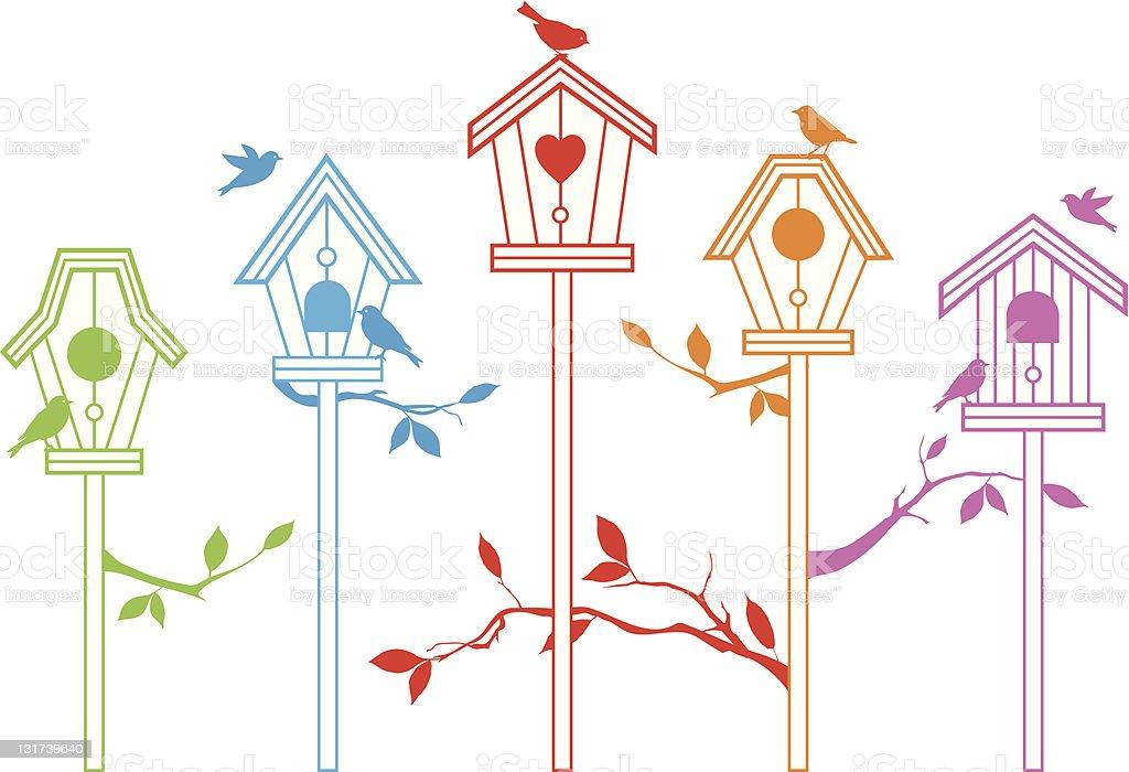 cute bird houses vector art illustration