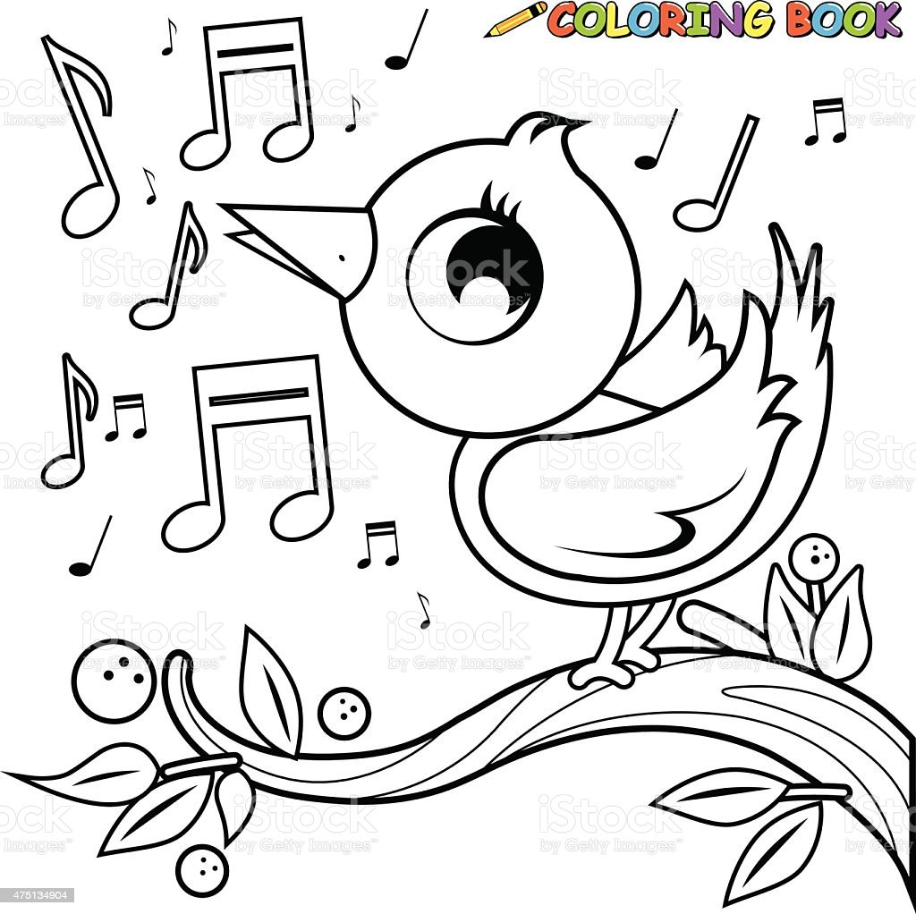 Cute bird on branch singing coloring book page vector art illustration