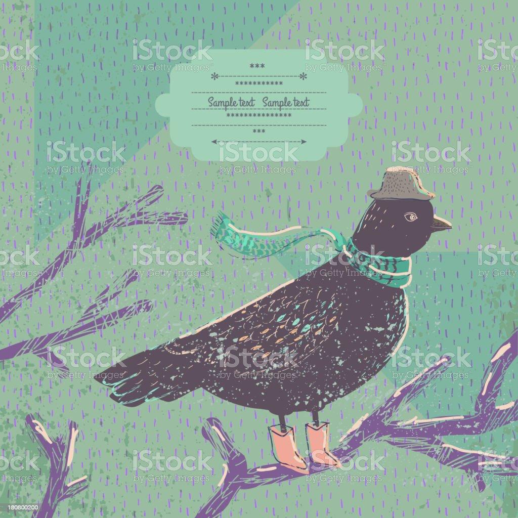 Cute bird on branch. royalty-free stock vector art