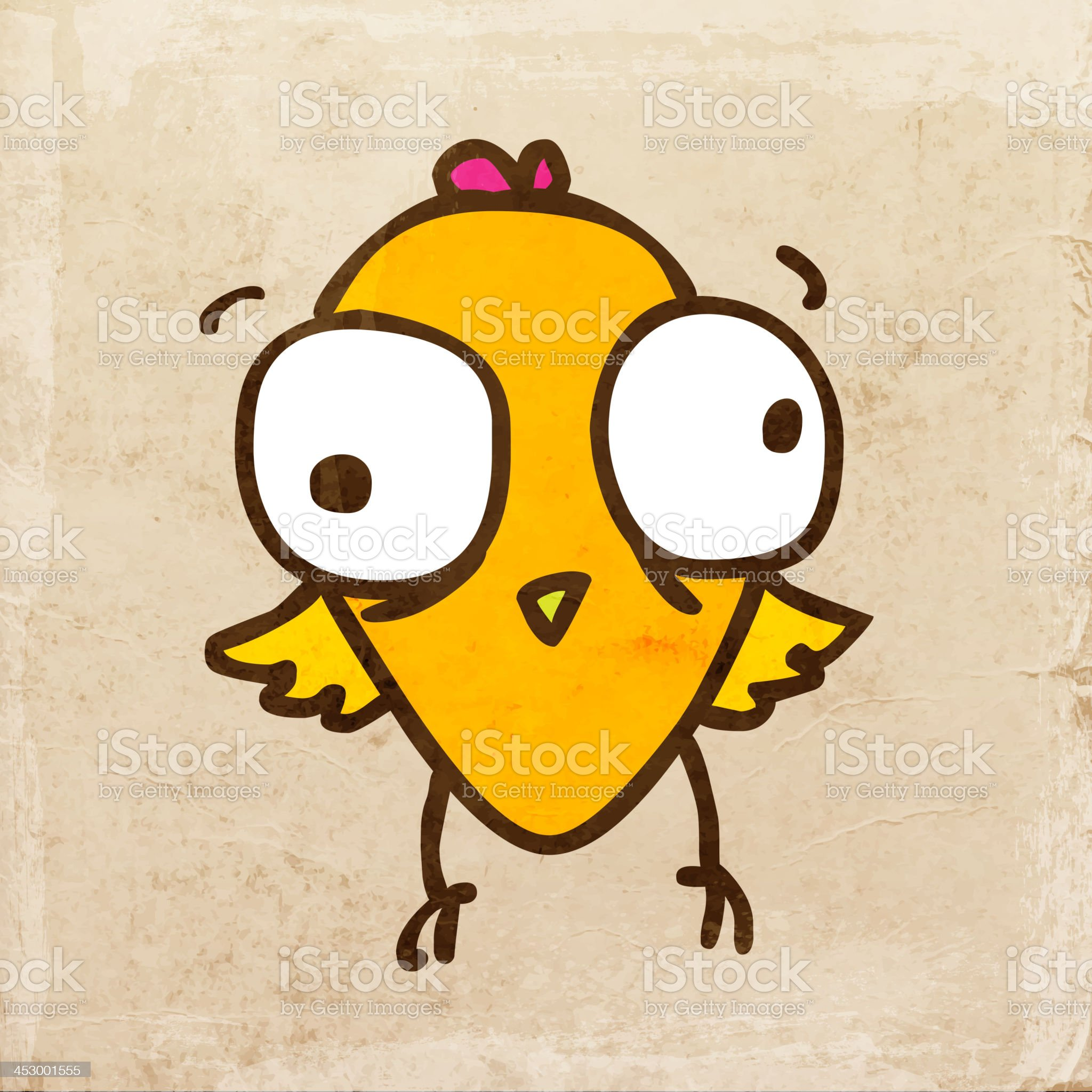 Cute Bird on Grunge Background royalty-free stock vector art