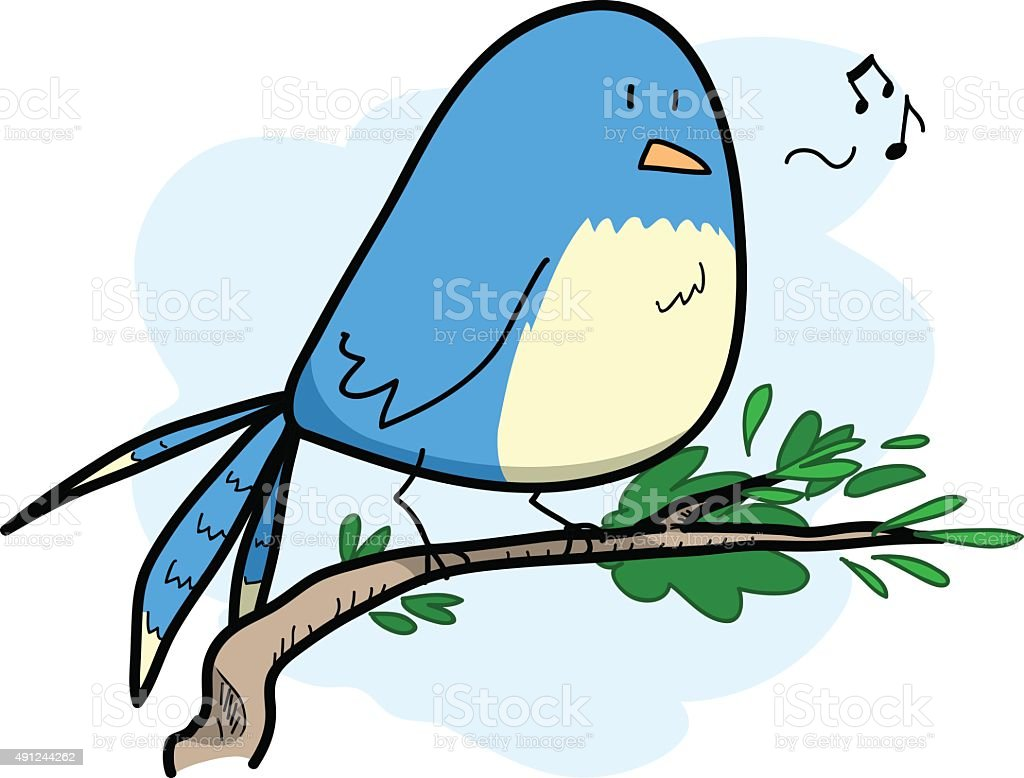Cute Bird Singing vector art illustration