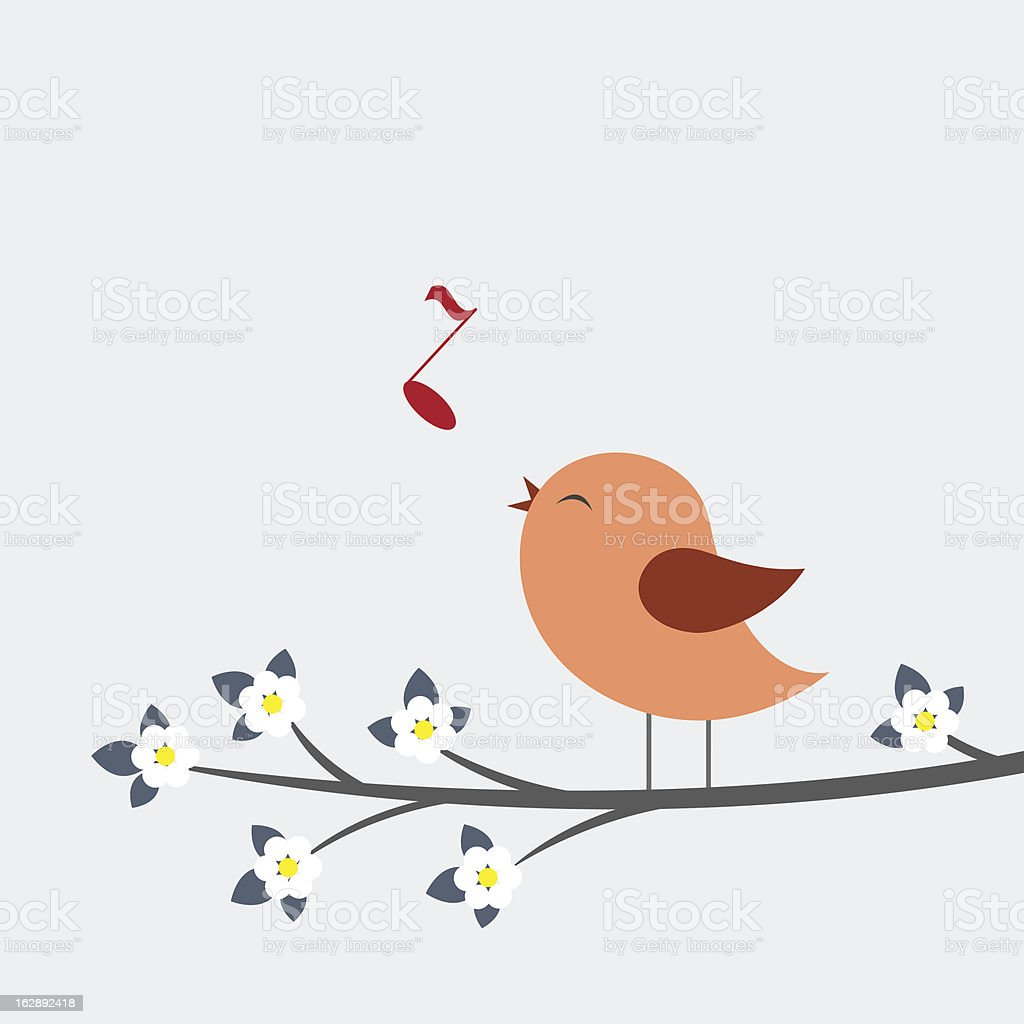 Cute bird sings vector art illustration