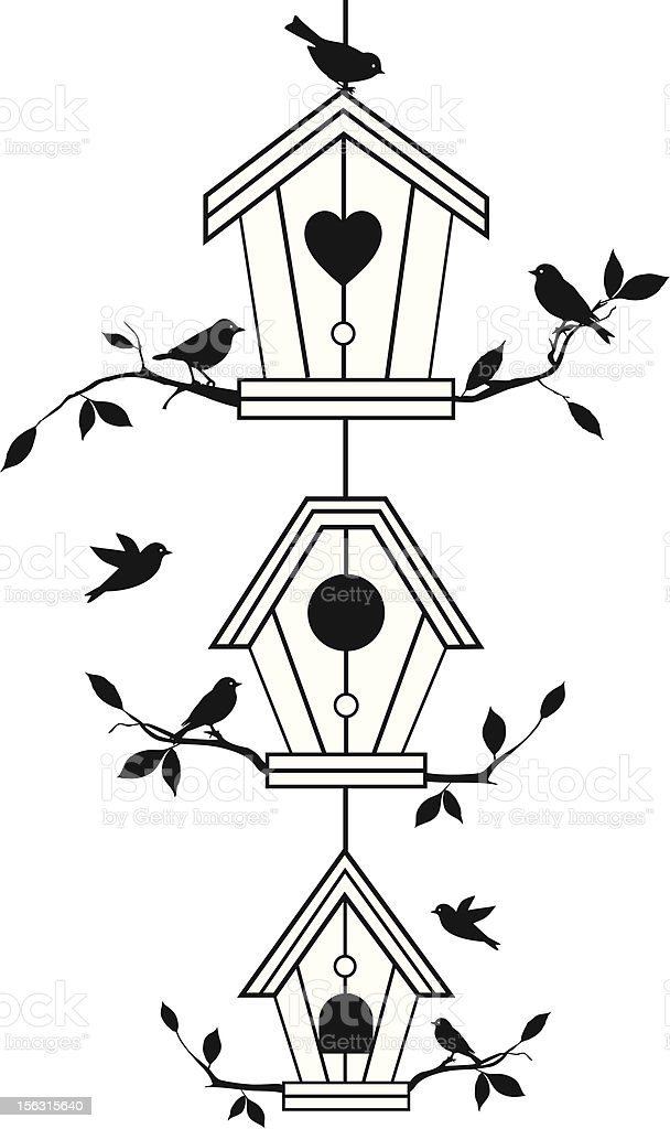 cute birdhouses with birds royalty-free stock vector art