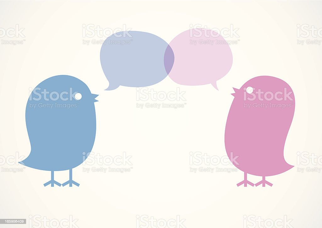 Cute Birds Communicate with Speech Bubbles vector art illustration