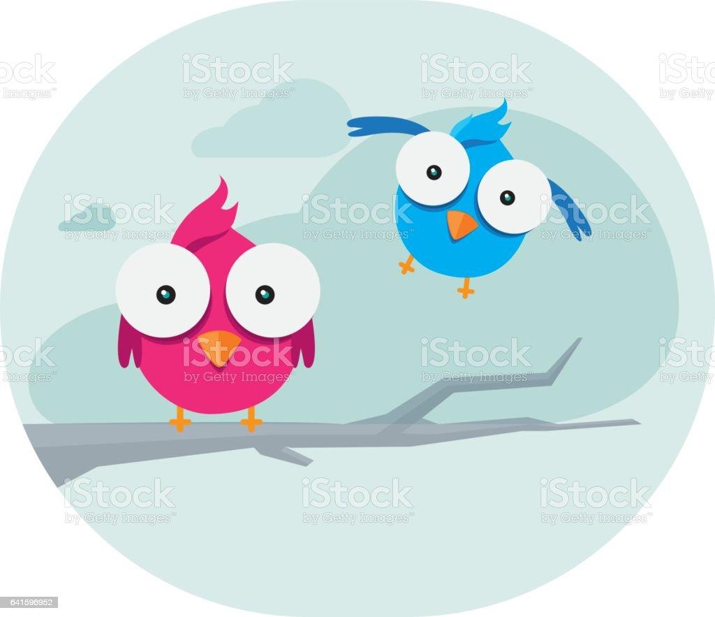 Cute Birds Illustration vector art illustration
