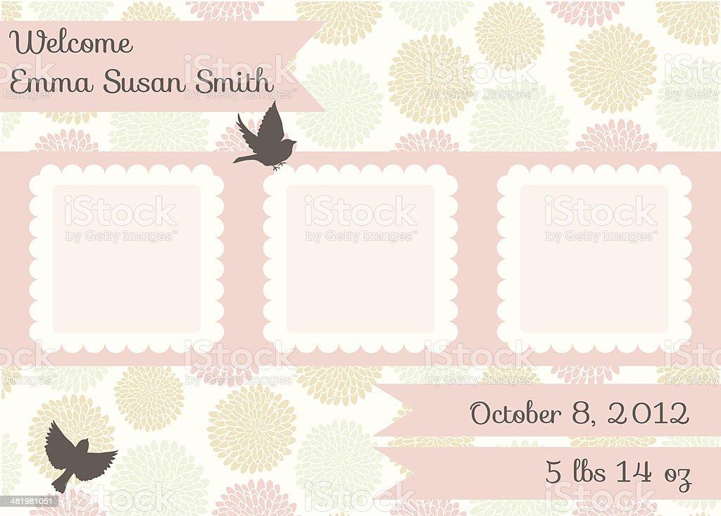 Cute Birth Announcement Template - Girl vector art illustration