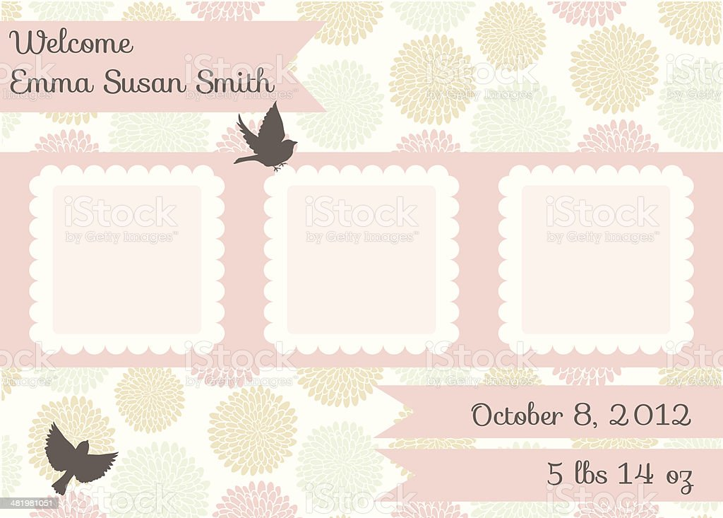 Cute Birth Announcement Template - Girl vector art illustration