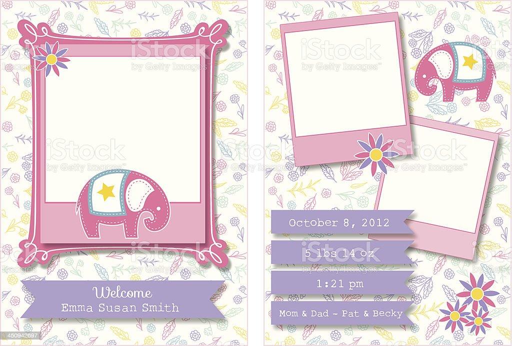 Cute Birth Announcement Template vector art illustration