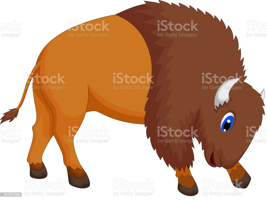 cute bison cartoon vector art illustration
